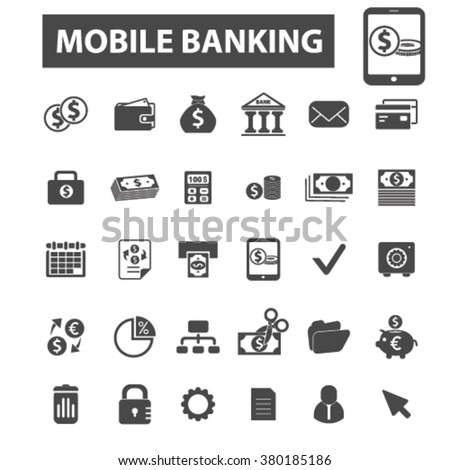 mobile banking icons - stock vector