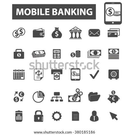 mobile banking icons, mobile banking logo, online banking icons vector, online banking flat illustration concept, online banking logo, online banking symbols set, payment, atm, internet banking, bank  - stock vector