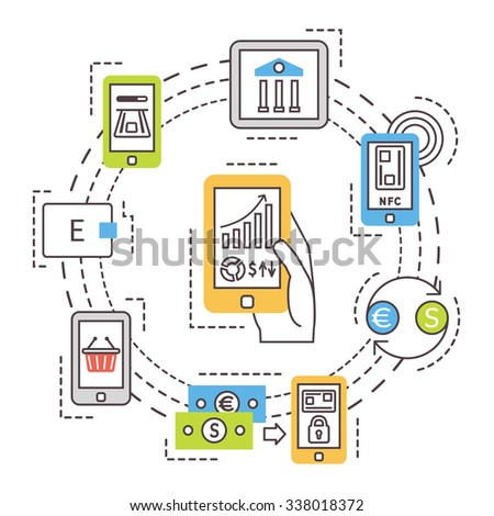 Mobile banking, online payments. Thin line flat vector icons. - stock vector