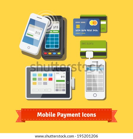 Mobile business payment flat icon set. Wireless POS terminal scanning NFC mobile phone payment. Accepting credit cards with tablet and phone adapters. EPS 10 vector. - stock vector