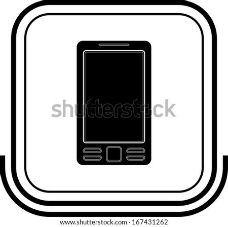 Mobile button black square - stock vector