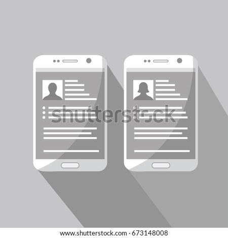 Mobile Cell Phone Vector Resume Cv Stock Vector (2018) 673148008 ...