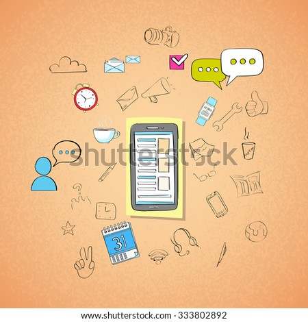 Mobile Cell Smart Phone Call Concept Doodle Hand Draw Sketch Background Vector Illustration - stock vector