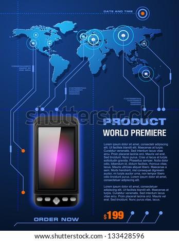 Mobile Cell Smart Phone Telecom Provider Flyer, detailed vector - stock vector