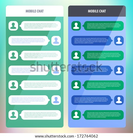 Mobile chat. Flat ui design. Vector illustration. Eps 10.