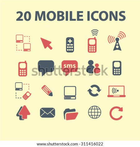 mobile communication, connection concept icons, signs set, vector - stock vector