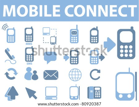 mobile connect icons, signs, vector illustrations - stock vector