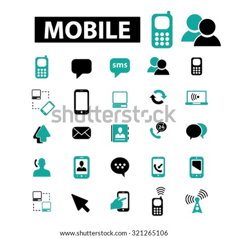 mobile, connection, communication icons - stock vector