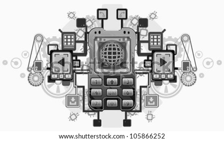 Mobile device crest vector design, over white, isolated - stock vector
