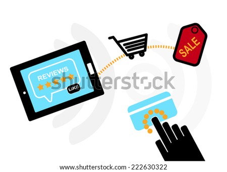 Mobile device set icon, hand shopping and review, eCommerce online concept  - stock vector