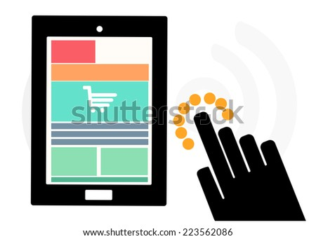 Mobile device set icon, hand shopping and review information feedback, eCommerce online concept - stock vector