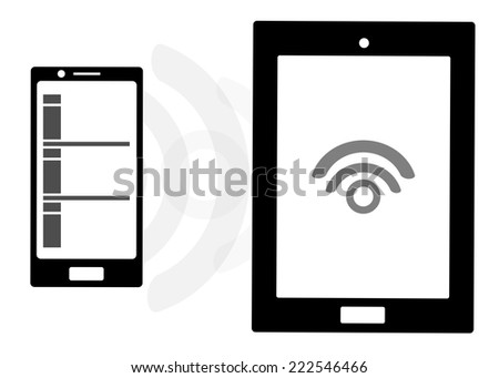 Mobile device set icon transfer data over wireless, byod concept - stock vector
