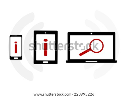 Mobile device set icon with analytics search information and computing data analysis concept - stock vector