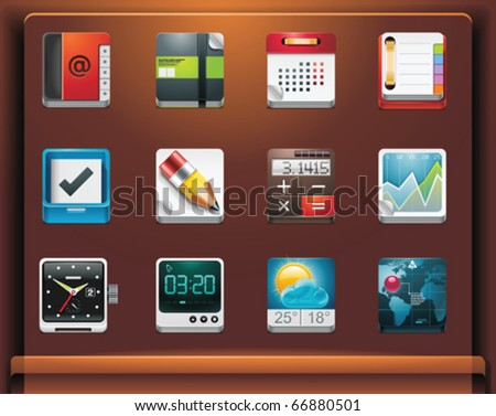 Mobile devices apps/services icons. Part 4 of 12 - stock vector