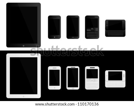 Mobile Devices Black and White - stock vector
