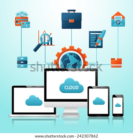 Mobile devices infographics with phone tablet and cloud computing elements vector illustration - stock vector