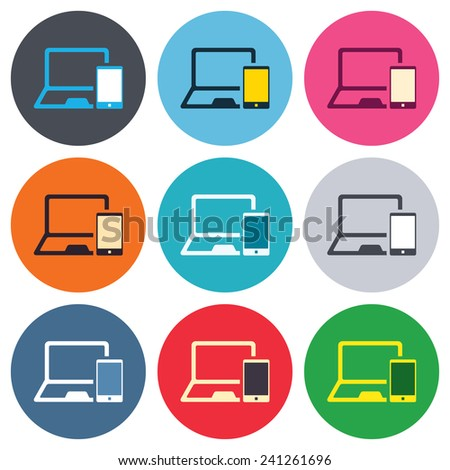 Mobile devices sign icon. Notebook with smartphone symbol. Colored round buttons. Flat design circle icons set. Vector - stock vector