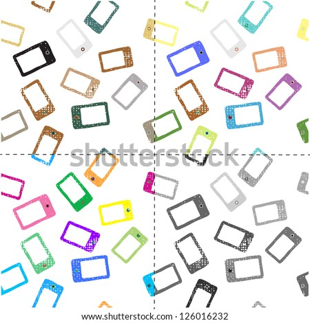 Mobile Devices, Smartphone,Seamless Pattern, Background - stock vector