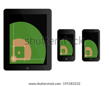 Mobile Devices with Baseball Field Black - stock vector