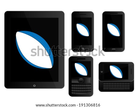 Mobile Devices with Rugby Ball Black