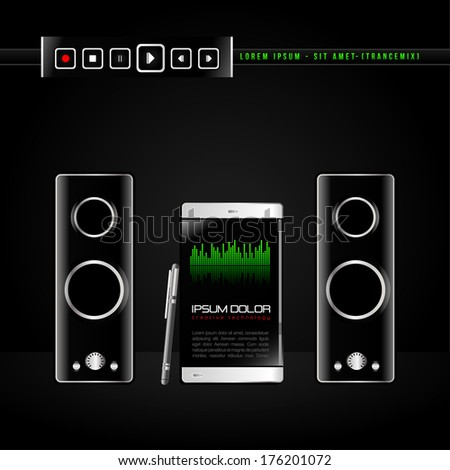 Mobile digital vector equalizer music icon on black background
