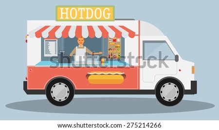 Mobile food car. Vector - stock vector