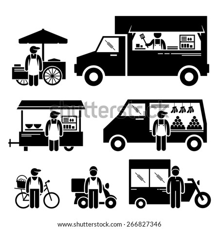 Mobile Food Vehicles Lorry Truck Van Wagon Bicycle Bike Cart Stick Figure Pictogram Icons - stock vector