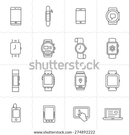 Mobile gadgets and smart watches linear icon set. Wearable  electronic devices. Simple outlined icons. Linear style - stock vector