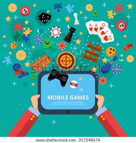 Mobile gambling games of fortune poster with long hands holding electronic device flat abstract isolated vector illustration - stock vector