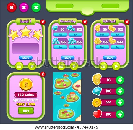 Mobile Game User Interface Graphic Assets pack for Match 3