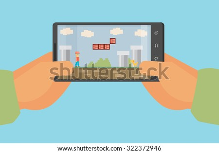 Mobile gaming concept , flat design , eps10 vector format - stock vector