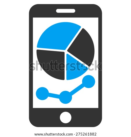 Mobile graphs icon. This isolated flat symbol uses modern corporation light blue and gray colors. - stock vector
