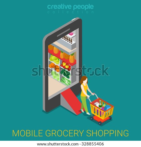 Mobile grocery shopping e-commerce online store flat 3d web isometric infographic concept vector electronic business sales. Woman with wheeled cart walks from market shop inside smartphone. - stock vector