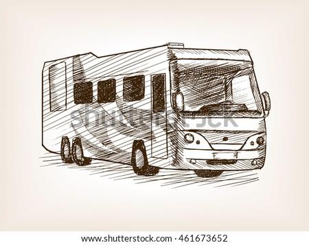Mobile Home Bus Transport Sketch Style Vector Illustration Old Engraving Imitation