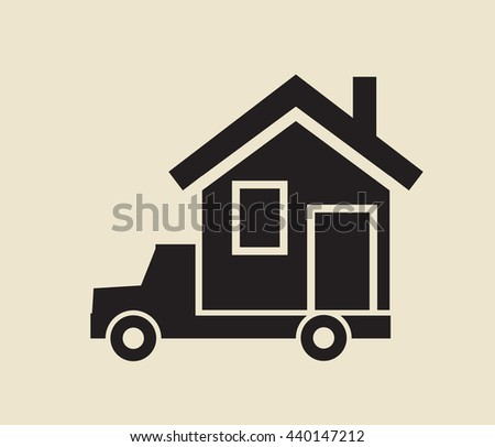 mobile home  relocation service - stock vector
