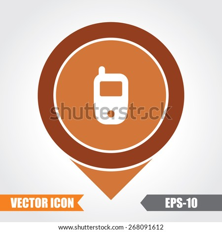 Mobile Icon On Map Pointer. Eps.-10. - stock vector