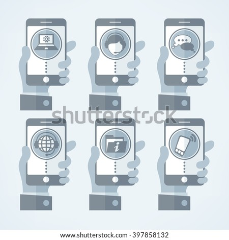 Mobile in hand. Connection concept. Vector illustration grey. - stock vector