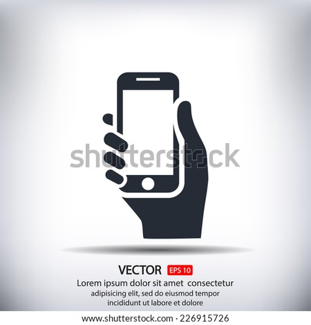 Mobile in hand, vector icon - stock vector