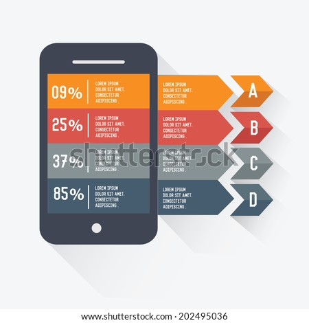 Mobile Infographic design on white background,vector - stock vector