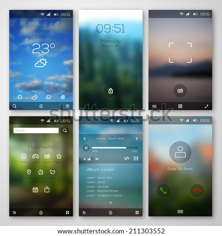Mobile interface wallpaper design and icons. Vector illustration. Blurred landscapes. Weather, multimedia, player, call, camera interfaces. - stock vector