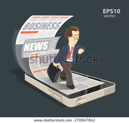 Mobile internet business news creative concept color 3d illustration. Young smile successful businessman reading new press using his mobile phone, smartphone - stock vector
