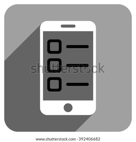 Mobile List long shadow vector icon. Style is a flat mobile list iconic symbol on a gray square background. - stock vector
