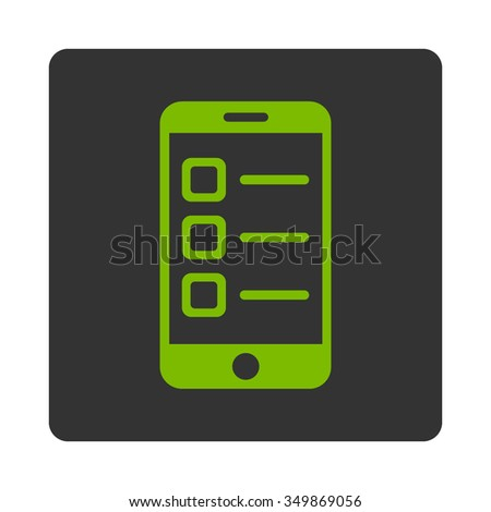 Mobile List vector icon. Style is flat rounded square button, eco green and gray colors, white background. - stock vector