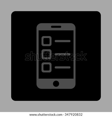 Mobile List vector icon. Style is flat rounded square button, gray and black colors, silver background. - stock vector