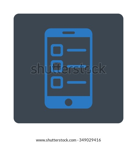Mobile List vector icon. Style is flat rounded square button, smooth blue colors, white background. - stock vector