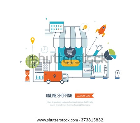 Mobile marketing concept. Online shopping. Shopping basket. Investment business. Strategy for successful business. Mobile banking. Delivery service. Color line icons - stock vector