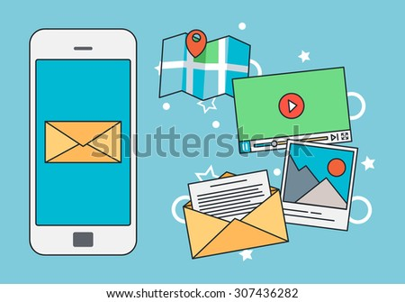 Mobile Marketing Concept with Blue Background - stock vector
