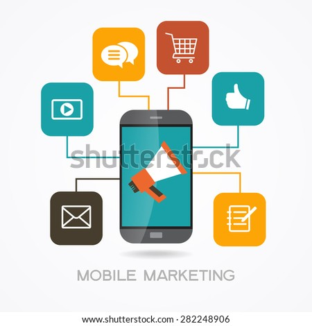 Mobile marketing  promotion concept. Smartphone, megaphone surrounded by  interface icons. Infographic design background. File is saved in AI10 EPS version. This illustration contains a transparency  - stock vector