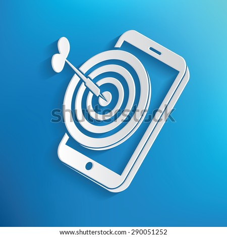 Mobile marketing symbol on blue background,clean vector