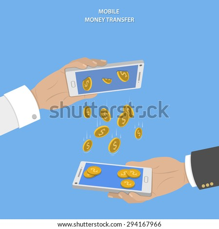Mobile money transfer vector concept. Two hands take mobile devices and exchange coins. - stock vector